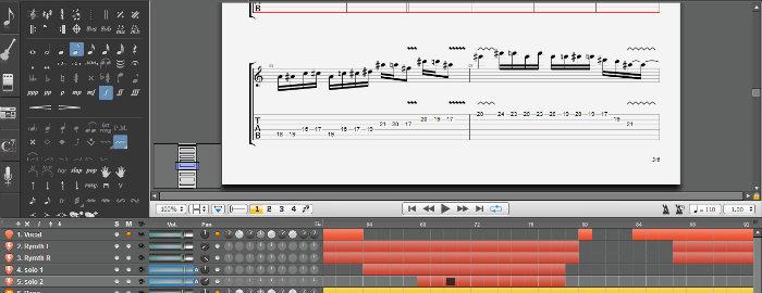 Guitar Pro 6 - Không gian làm việc chật hẹp