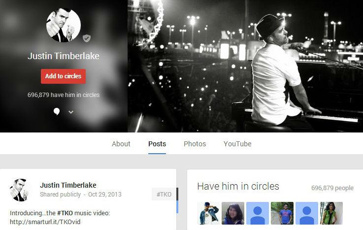 Justin Timberlake trên Google+