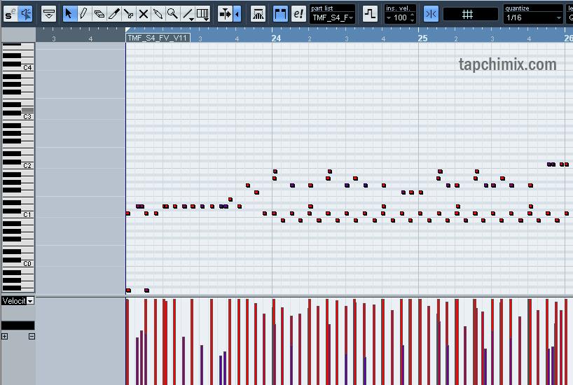 Dữ liệu MIDI trên khung thời gian (TimeGrid)