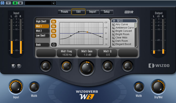 Full EQ trong Reverb cao cấp WizooVerbW2