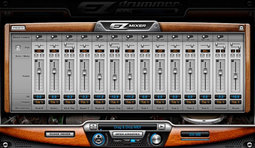 Can thiệp sâu hơn vào âm thanh dàn drums với ezmixer