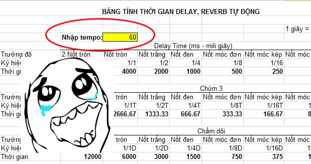 Công cụ tính thời gian delay, reverb tự động