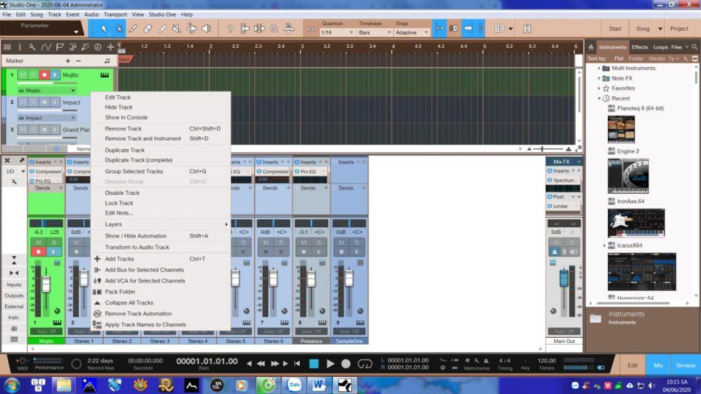 Studio One Transform to Audio Track